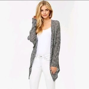 Sweaters - Sweater Knit Cardigan - Black/White